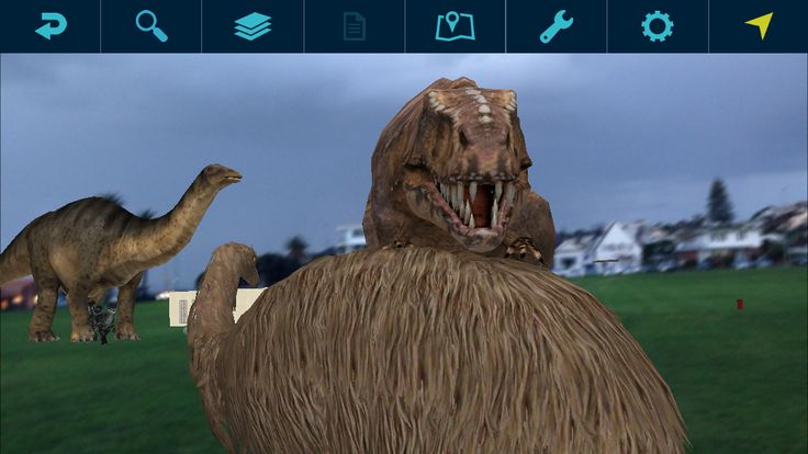 The Augview team is having fun playing with animated Augmented Reality dinosaurs using Augview.