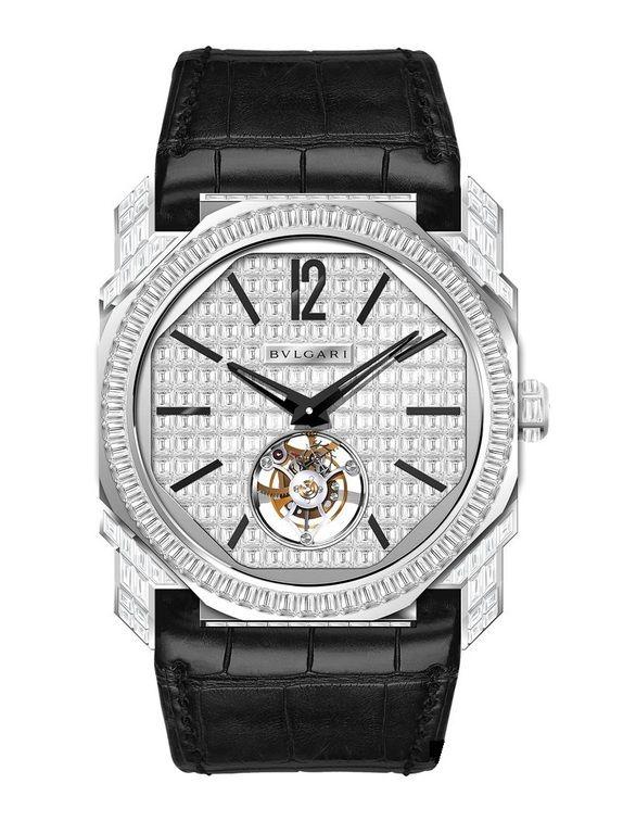 Bvlgari Finissimo Tourbillon WG Baguette Pave Octo Gerald Genta - швейцарские женские часы - наручные, золотые с бриллиантами, белые, черные, унисекс