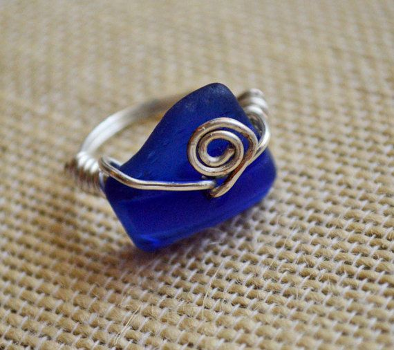 Cobalt Blue SeaGlass Wrapped Ring ~ Handmade Ring ~  gift for girlfriend, Sister, best friend ~ Mermaid Jewelry Gift idea ~ Beach Glass Ring