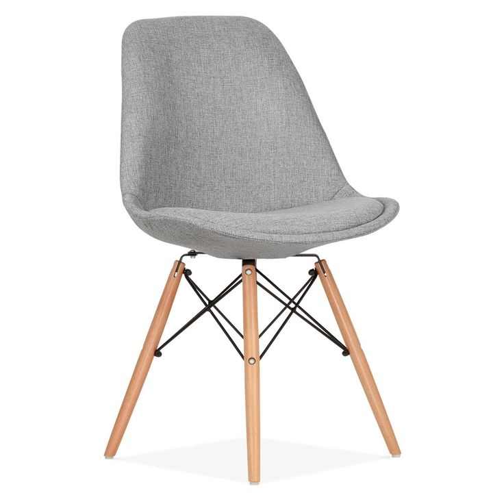 Eames Inspired Upholstered Dining Chair with DSW Style Natural Wood Legs - Cool Grey
