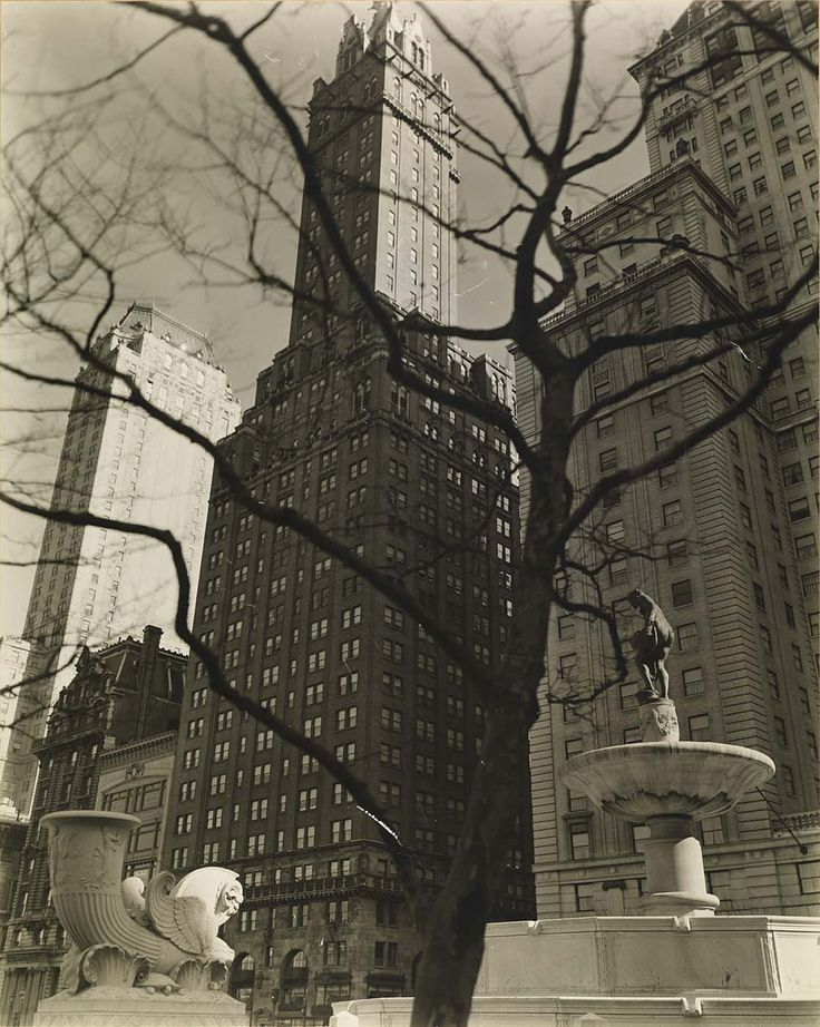 Central Park Plaza, from Fifth Avenue at 58th Street, from the series Changing New York    1937 Berenice Abbott Victor Sincere Lived upper East side