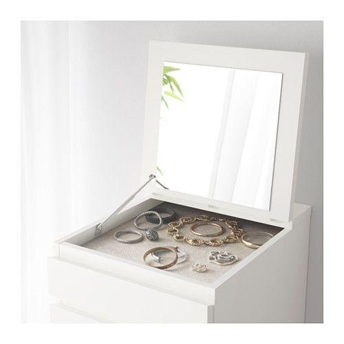 MALM 6-drawer chest, white, mirror glass white/mirror glass 15 3/4x48 3/8