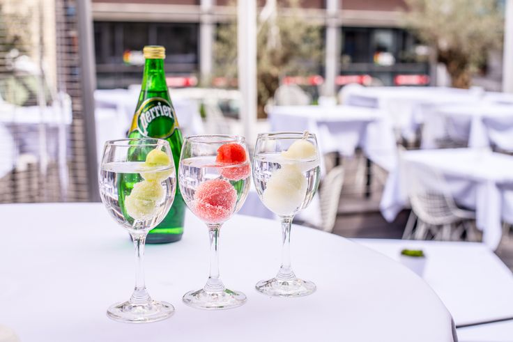 Mineral water Perrier with watermelon, melon and cucumber.