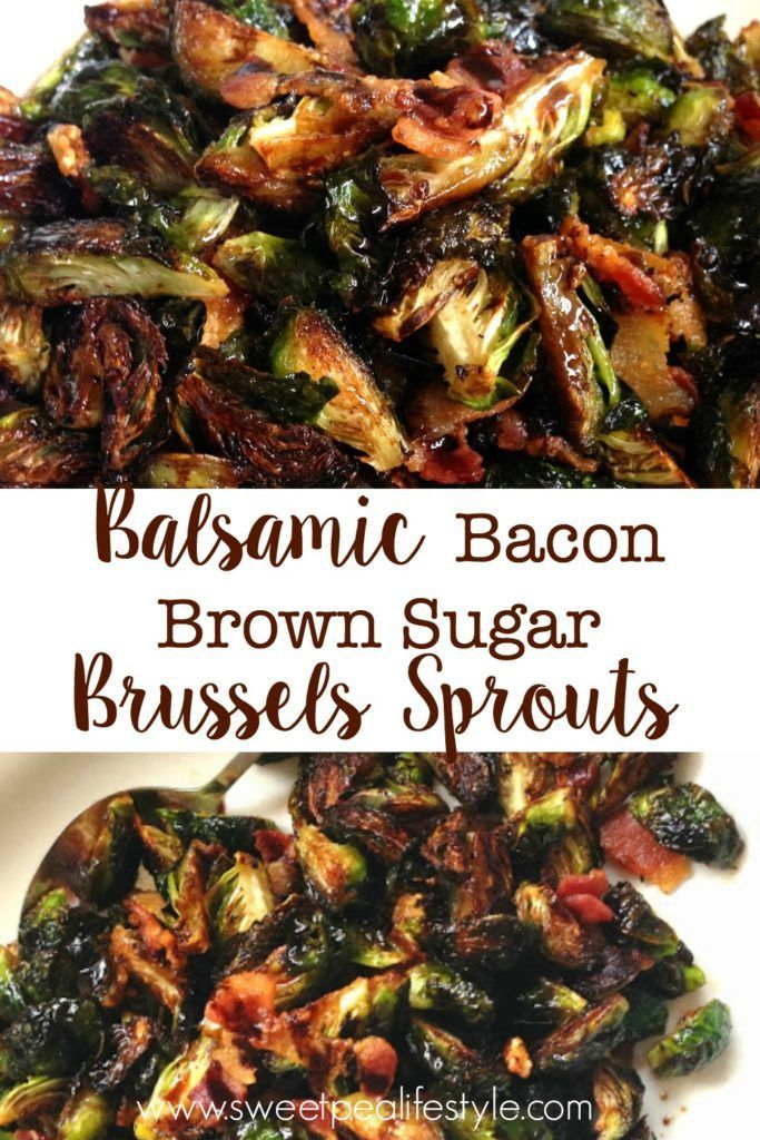 Save this recipe to your boards! Roasted brussels sprouts with bacon, and a balsamic vinegar and brown sugar glaze! YUM!