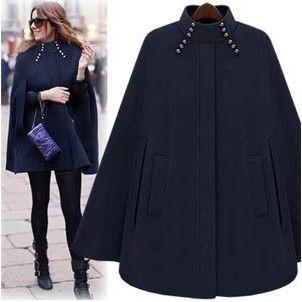 2016 Street fashion mulheres casaco de caxemira de lã poncho outono inverno Casuais Casaco de lã Feminino Solto Manto Cabo Exteriores