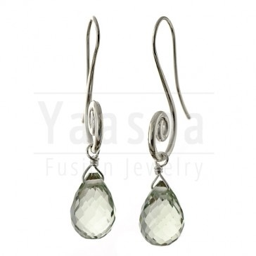 Silver Green Amethyst Tear drop Earrings    Available at http://www.yaasna.com/earrings/stone-silver/silver-onyx-teardrop-earrings.html