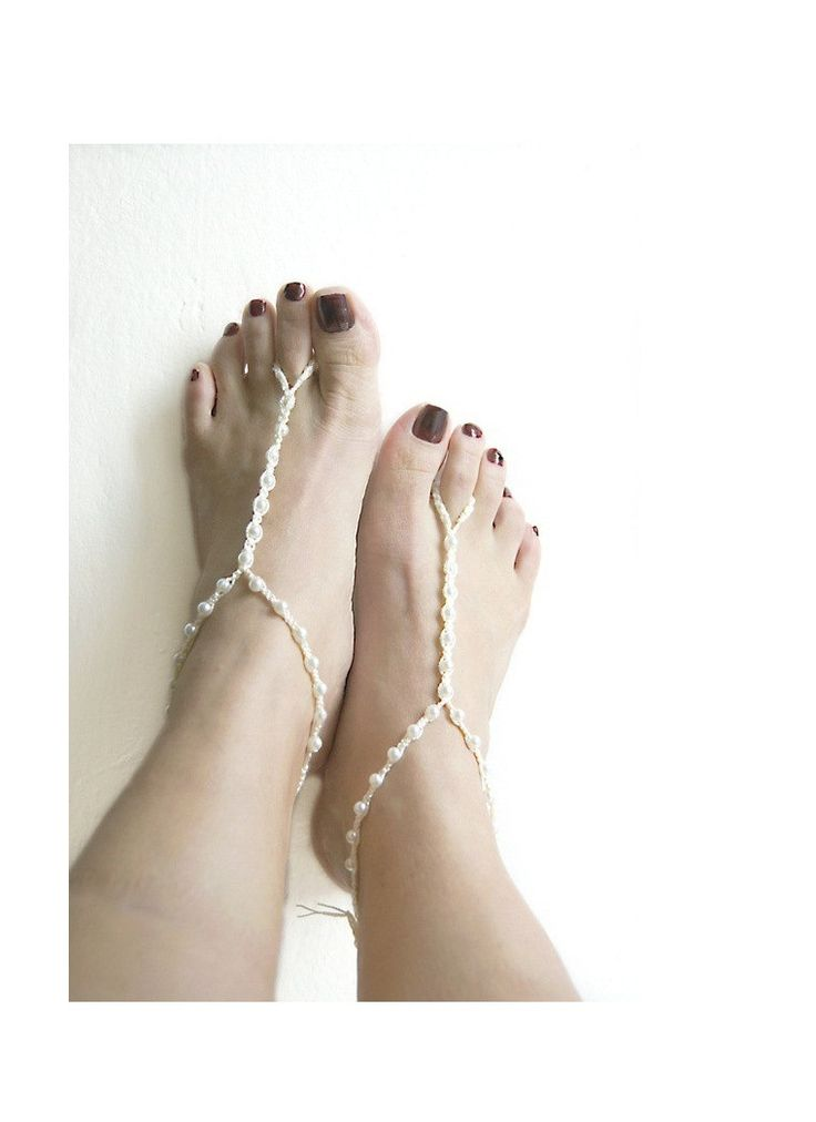 Ivory Wedding ivory beads macrame Foot jewelry Anklet, Nude shoes, bridesmaids , Wedding, Sexy, Bridal Accessories, mari�e mariage