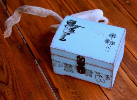 Boîte coffret décorative en bois esprit vintage par Elolittlebox