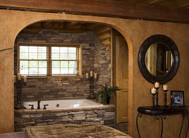 stone around bath log home - Bathroom Ideas Log Homes
