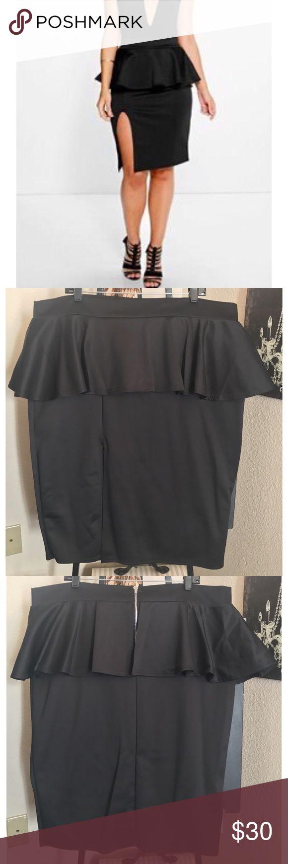 Peplum Skirt Black peplum skirt with high split. True to size. Very sexy! Never worn. NWOT Boohoo Plus Skirts