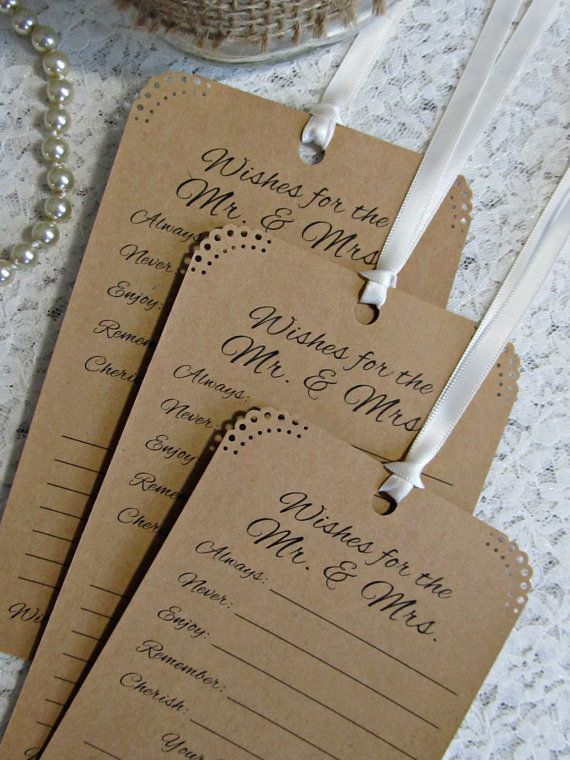 Set of 12 Bridal Shower or Wedding Wishing Tree Tags Neutral Kraft Paper Vintage Rustic on Etsy, $6.99