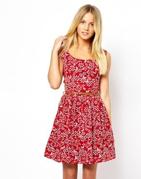 Yumi Belted Dress in Butterfly and Floral Print