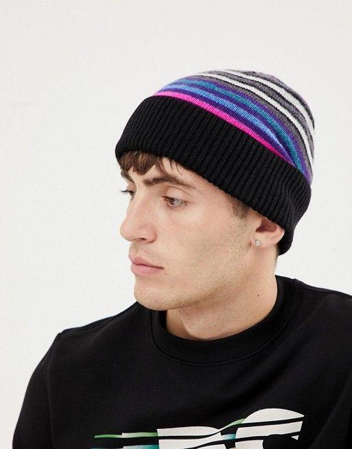 c169806ce38 PS Paul Smith multi stripe wool beanie in black