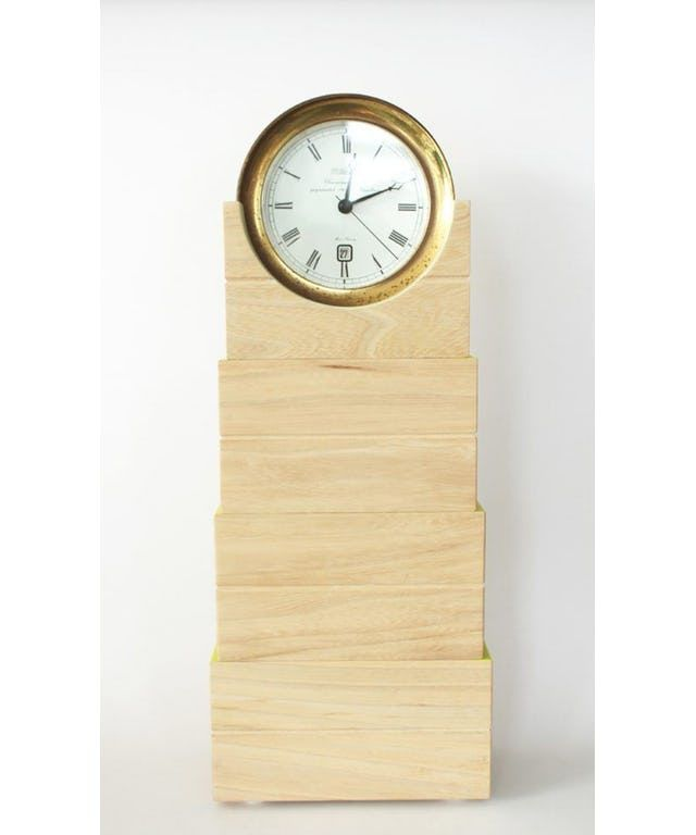 Wooden Ship Clock designed by Studio Annelou van Griensven made in Netherlands as part of Home Accessories and Home Decor and Clocks tagged Dutch design and Scandinavian clocks and Wood clocks - image 1 on CROWDYHOSUE