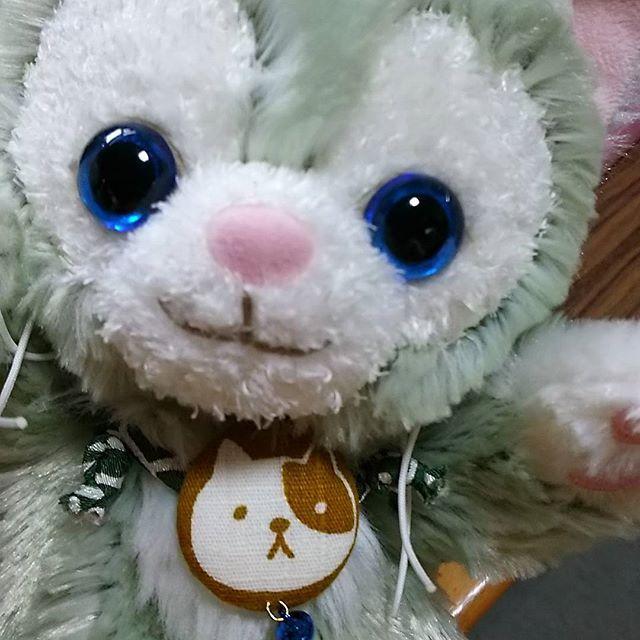 にゃろ~︎︎❤︎︎(はろー)  メルカリでまましゃまが 首輪買ってくれたฅ•ω•ฅニャー  青い鈴がポイントฅ•ω•ฅニャー  #ジェラトーニ#ポーチ#リメイク#愛猫#たま #やっぱり#似合う♡♡#大きめ#だから#にゃんまる も#いけそう✨ #たまちゃん#綿#少なすぎかも#少し足そっかな~😁