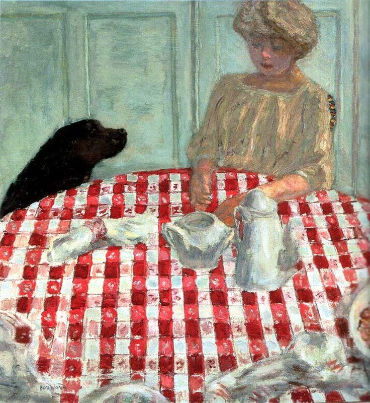 """""""La Nappe aux carreaux rouges"""" ou """"Le Déjeuner au chien"""" (1910)  de Pierre Bonnard"""