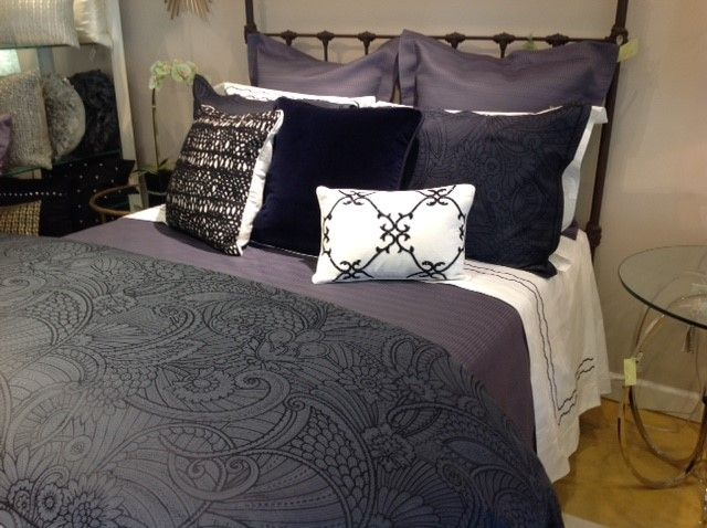 SFERRA Fall 2015 Danello bedding styled with Overo, Solari, and Velino Decorative Pillows on Display at Block Brothers in Ohio.