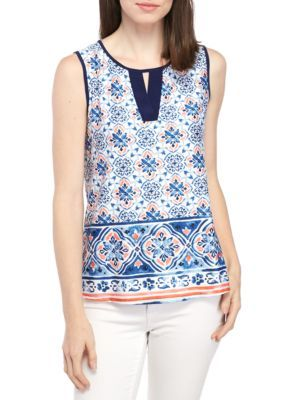New Directions Women's Sleeveless Border Print Cutout Neck Tank - Ivory/Blue/Coral - Xl