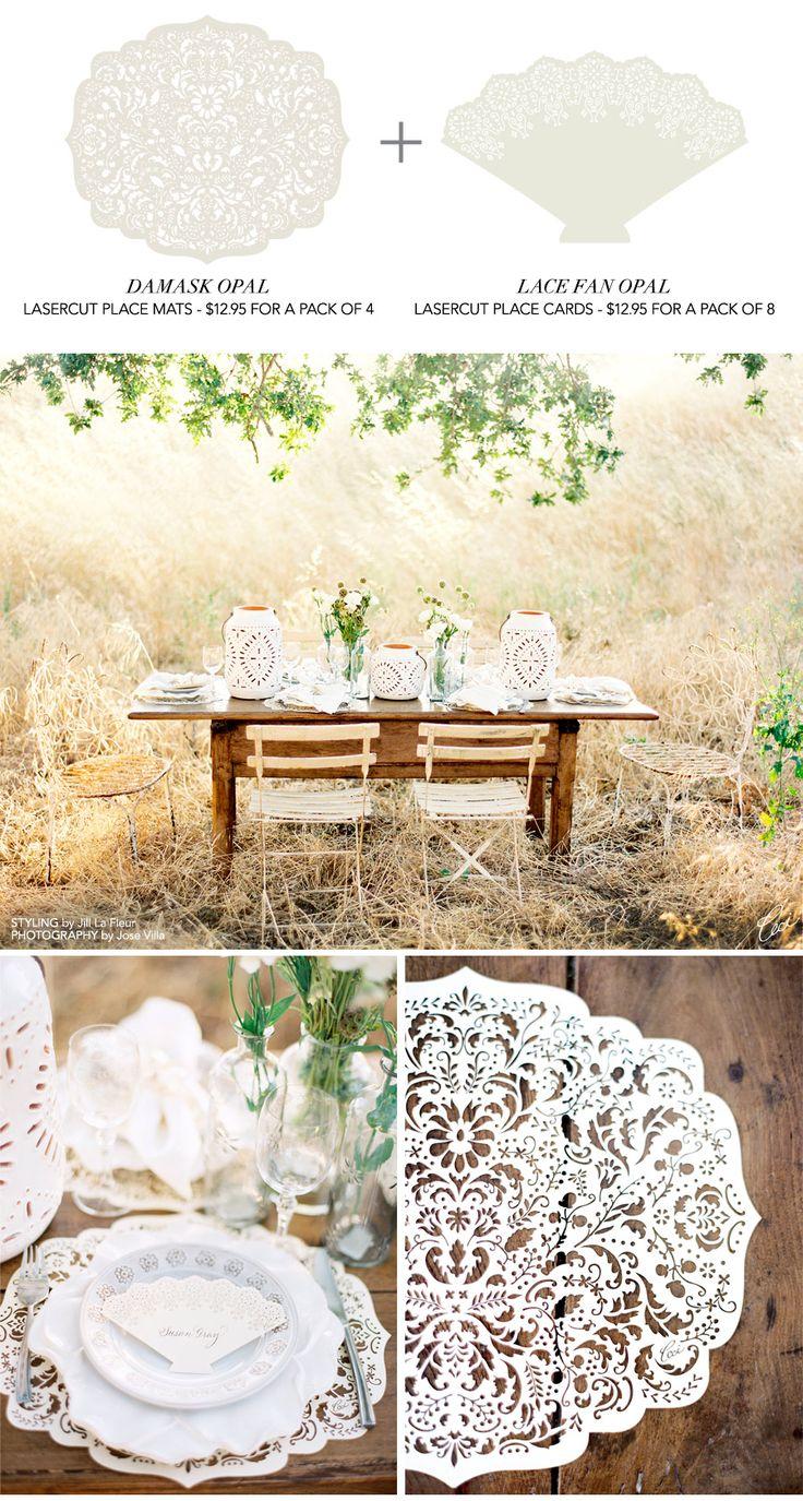 Cute table decor photography by Jose VillaIdeas, Places Mats, Tables Sets, Tables Placemats, Outdoor, Places Cards, Tables Decor, Lace Tables, Laser Cut Place Cards