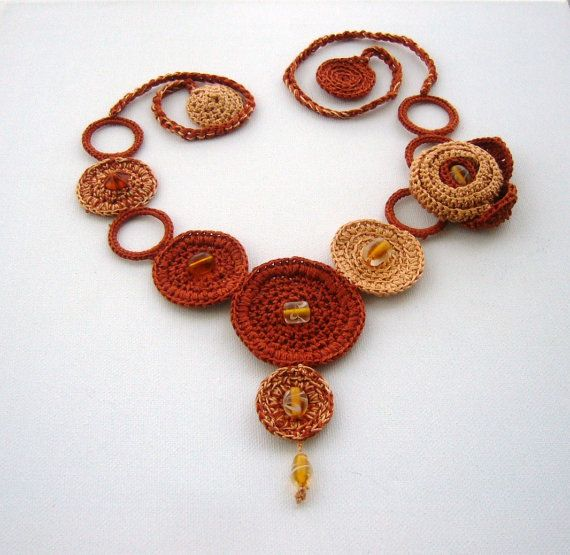 Hand Crochet Necklace Brown Spring Flower and by CraftsbySigita on Etsy