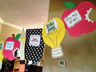 Back to school pennant.  Set expectations with a crafts during the first two weeks.  Then hang for back to school!