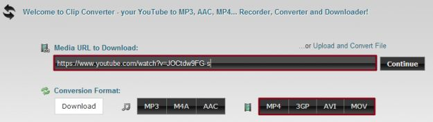 Clip Converter File to Download Selection Screen