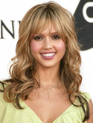 Front fringe/bangs medium to long layers curly hair style ...