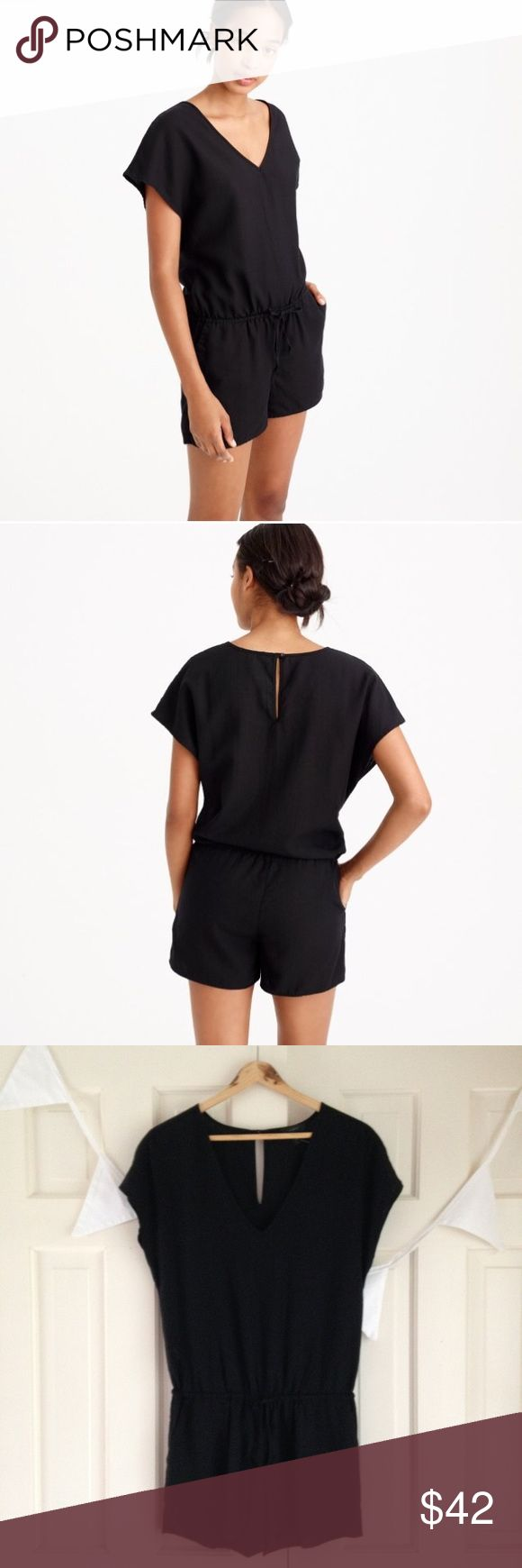 """J CREW Drapey V-Neck Romper NWOT New! But retail tag has fallen off. Because it is slightly oversized, it probably could fit an XS too. From J Crew: """"Made from a super soft, drapey linen blend, this romper is the chic way to get dressed in under 60 seconds, so you can spend more time at the beach instead of wondering what to wear."""" J. Crew Pants Jumpsuits & Rompers"""