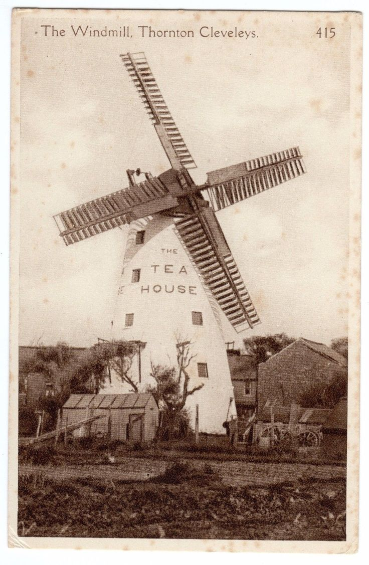 PRINTED POSTCARD MARSH WINDMILL-THE TEA HOUSE-SHED & YARD-THORNTON-CLEVELEYS | eBay