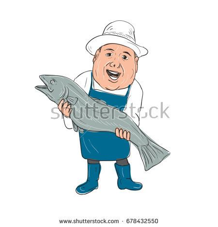 Illustration of a Fishmonger Presenting selling Fish front view done in hand drawing Cartoon style.  #fishmonger #cartoon #illustration