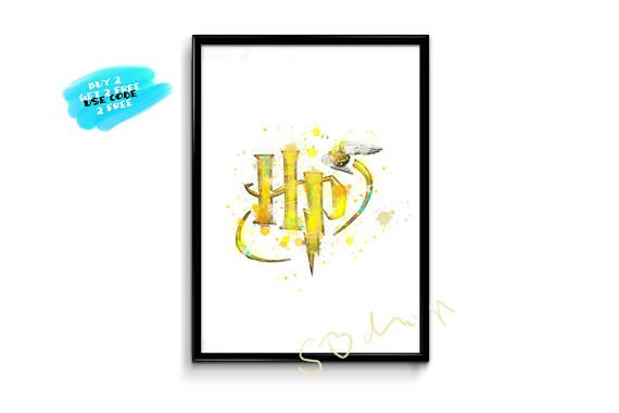 Harry Potter Logo Watercolor Poster Harry Potter Poster HP