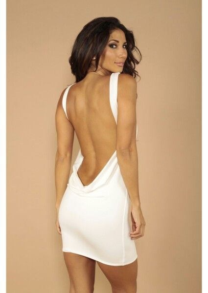 Short white backless dress | ♦Backless Dresses♦ | Pinterest ...