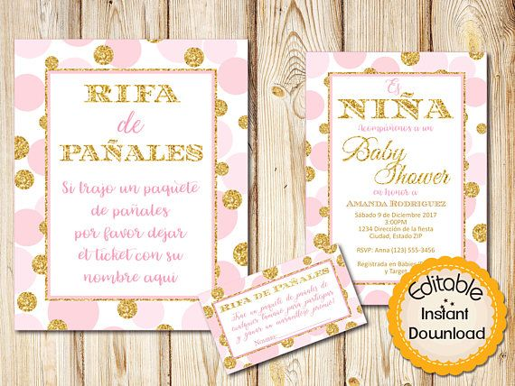 28 best spanish baby shower invitations images on pinterest spanish pink and gold baby shower invitation bundle girl instant download editablediaper raffle sign and tickets diy printable 5x7 solutioingenieria Choice Image