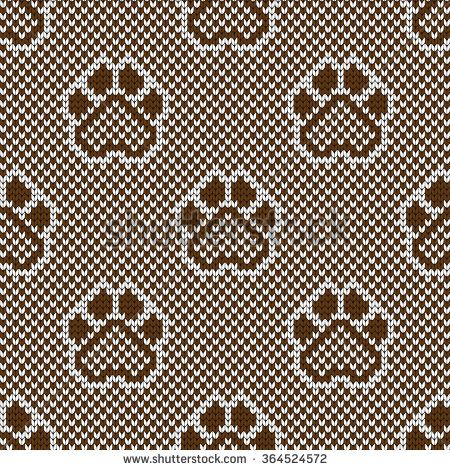Knitted seamless pattern animal pads