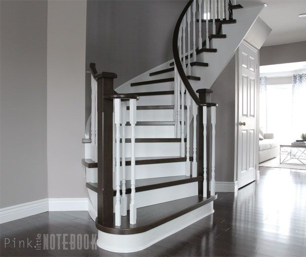 Curved Staircase Remodel Before After Pink Curved