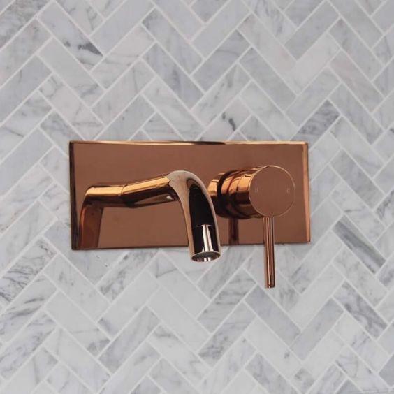 Deep Rose Gold Elysian Wall Mounted Mixer, Available Now! . . . . . #tapware #rosegold #to #splashback #bathroom #clean #interiordesign #bathroominspiration #luxeliving #modern #contemporary #style #interiors #design #minimal #herringbone #goldcoast #queensland #australia #burleighheads