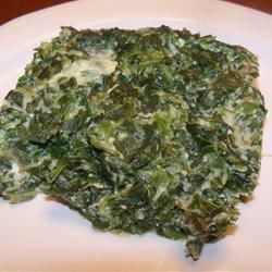 Spinach baked into a souffle with egg, milk, Parmesan cheese and garlic.  You can also make this dish in the microwave when you're short on time.