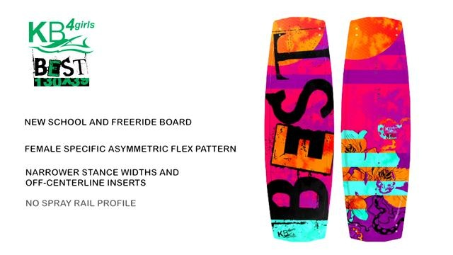 Short product video explaining the features of the KB4Girls freeride/newschool twintip