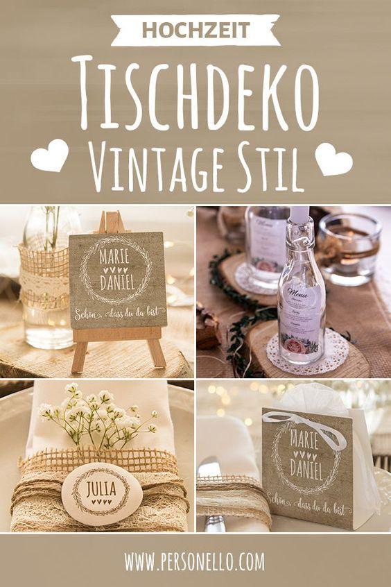 Der rustikale #Vintage-Stil ist von vielen Hochzeiten gar nicht mehr weg zu denken. Selbstgemachte Tischdeko aus Holz oder Blumen müssen nicht immer …