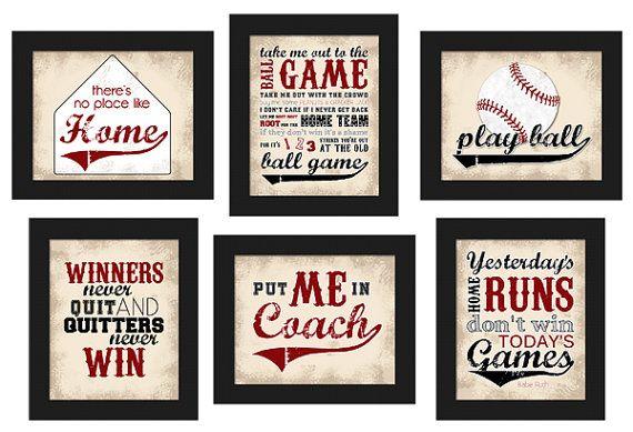 Printable Baseball Theme Home Decor Set 6pc Red Black Rhpinterest: Baseball Home Decor At Home Improvement Advice