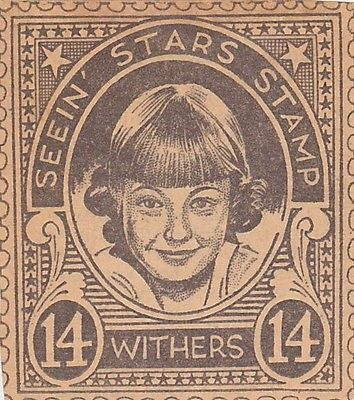 JANE WITHERS MOVIE ACTRESS VINTAGE SEEIN STARS STAMP GRAPHIC PHOTO PROMO