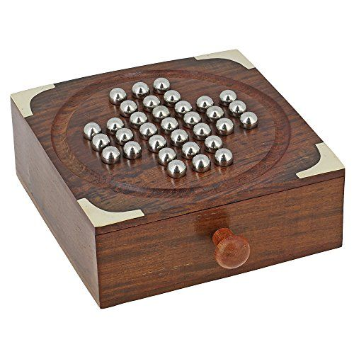 Handmade Indian Wooden Solitaire Board Game with Stainless Steel Balls - Travel Games for Adults ShalinIndia http://www.amazon.in/dp/B00PU0DW3M/ref=cm_sw_r_pi_dp_EfaBvb0MZ388P