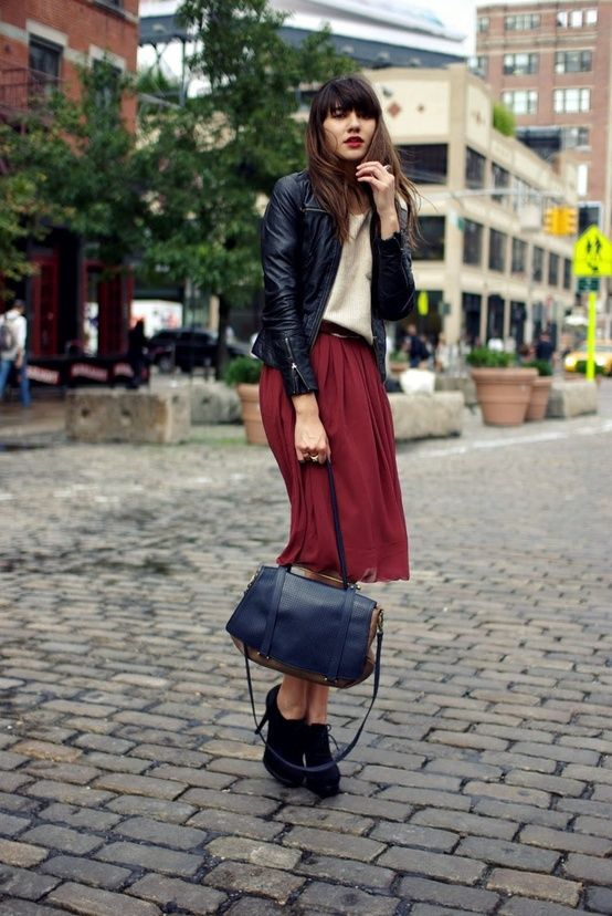 burgundy, beige, and blackBlack Leather Jackets, Stylefashion, Skirts, Fashion Style, Autumn, Street Style, Colors, Rocks Chic Outfit, Street Style Fashion