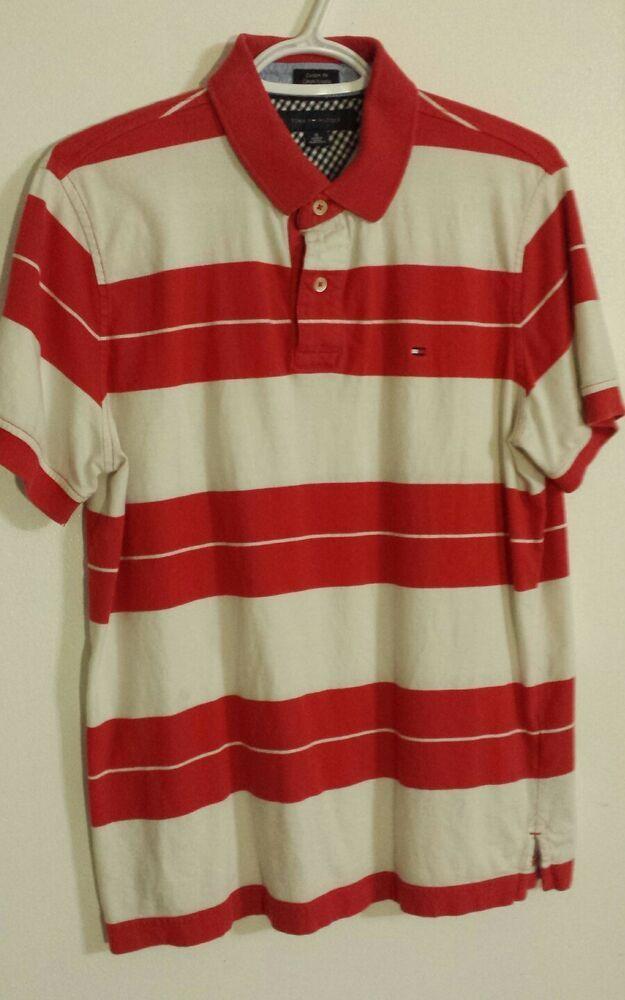 5ed87b47 VTG Tommy Hilfiger Custom Fit polo shirt Red & White stripes Sz Medium Flag  logo #fashion #clothing #shoes #accessories #mensclothing #shirts (ebay  link)