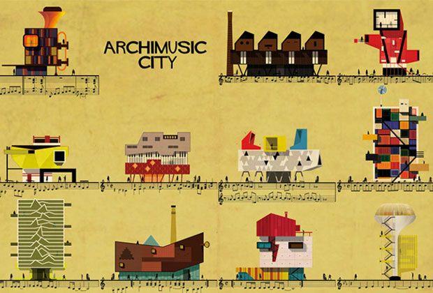 L'ultima serie di poster dell'architetto e illustratore italiano Federico Babina rappresenta ventisette canzoni popolari (da calibro di David Bowie a Amy Winehouse, da Elvis Presley a Mozart) e le trasforma in edifici