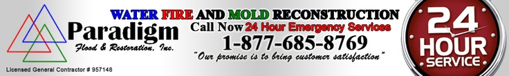Paradigm Flood & Restoration is your communities premier provider of emergency services for WATER, FIRE & MOLD Damage Restoration. 24/HR SERVICES