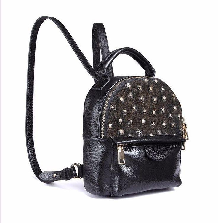 Fashion Style Vintage Ladies Shoulder Bag Rucksack Backpack Genuine Leather Blac