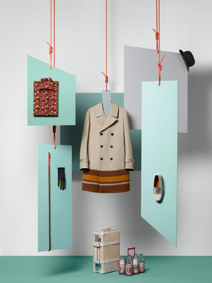 BFC & GQ Collections by Sarah Parker, London  Again the trend here is colour, which is being used in the props and the ropes holding up the merchandise.