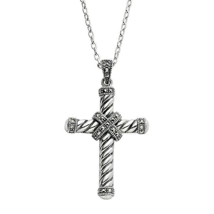 "Lavish by TJM Sterling Silver Cross Pendant Necklace, Women's, Size: 18"", Grey"