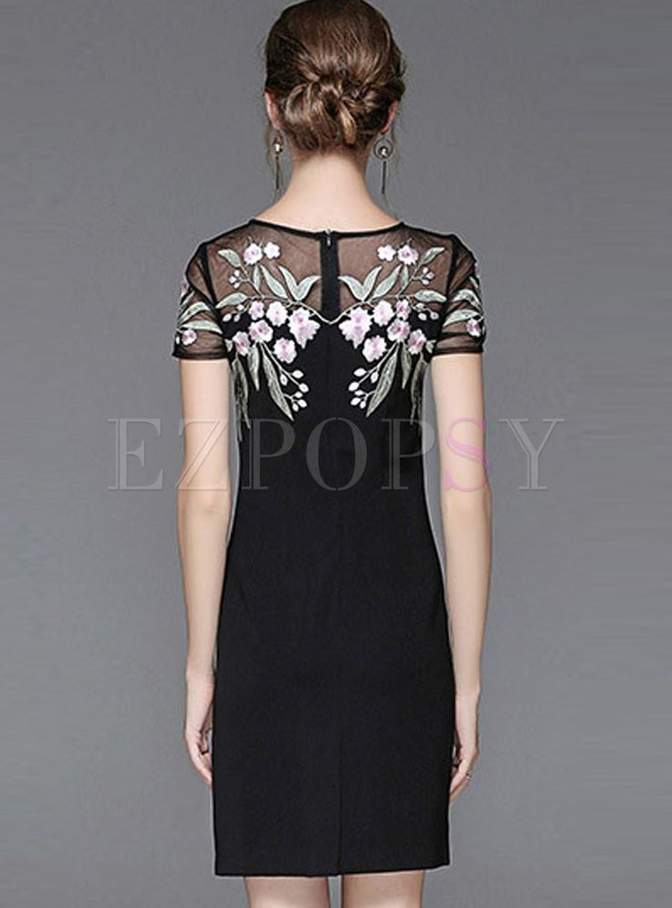 Black Embroidered Hollow Out Zipper-back Bodycon Dress 1